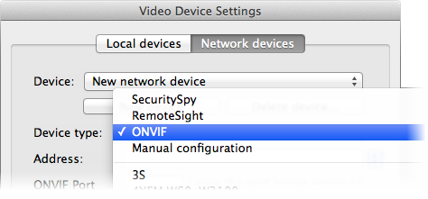 Video Device Settings - ONVIF