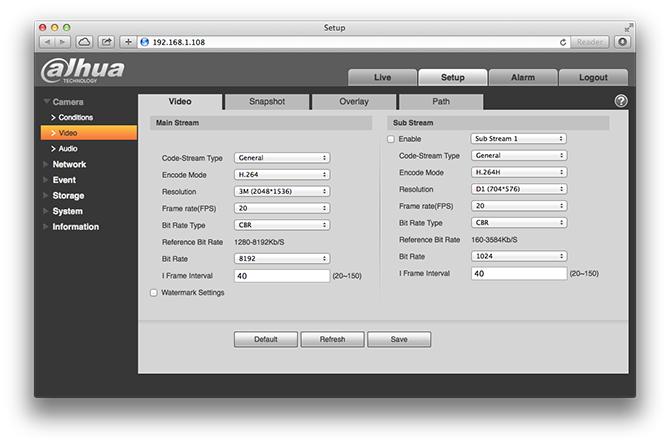Dahua IPC-HDW4300C Web Interface