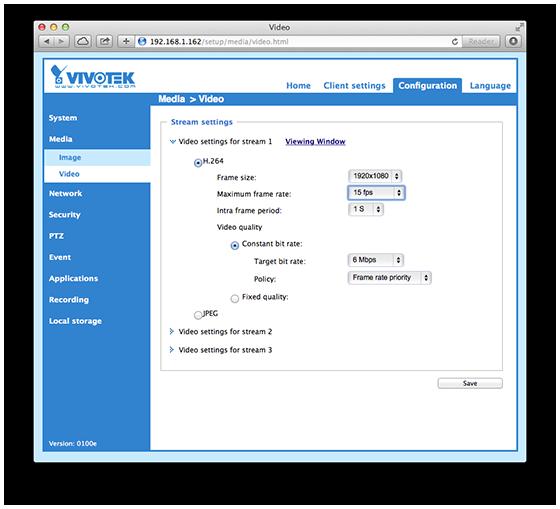 Vivotek IB8168 Web Interface